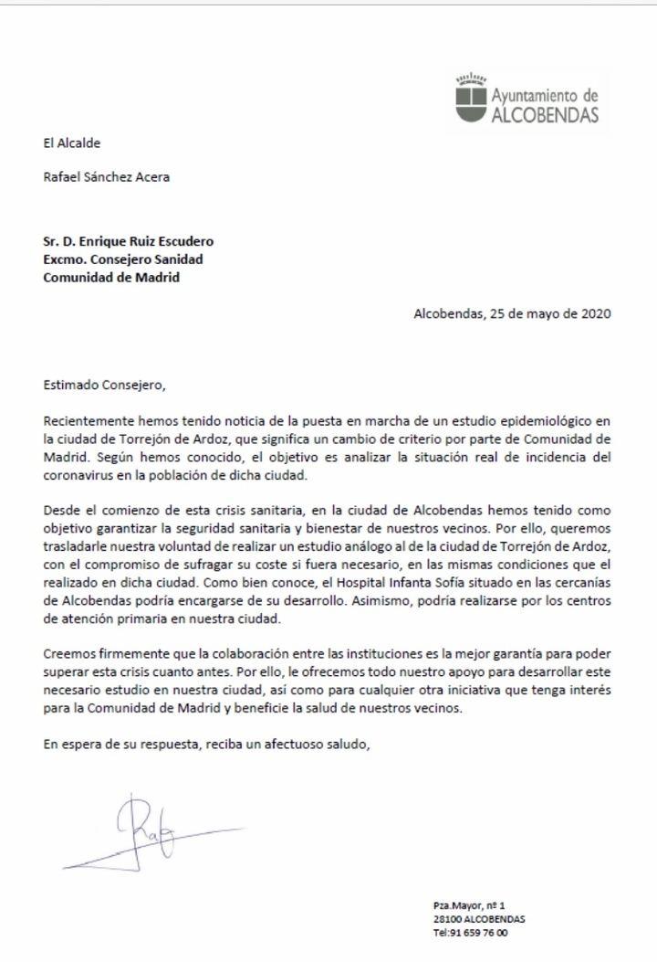 Alcobendas solicita a la Comunidad de Madrid poder realizar tests de coronavirus gratuitos a su población