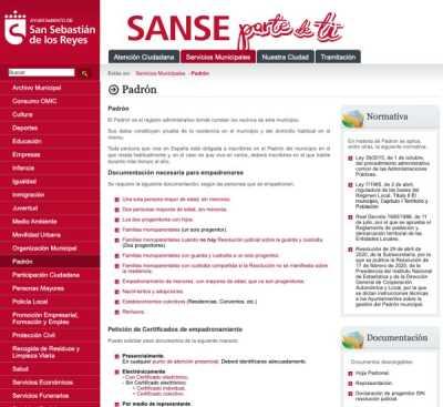 El Ayuntamiento de Sanse potencia su atención telemática con nuevas utilidades para la obtención del empadronamiento
