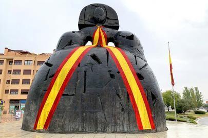 Bandera de España en La Menina para celebrar el Día de la Hispanidad