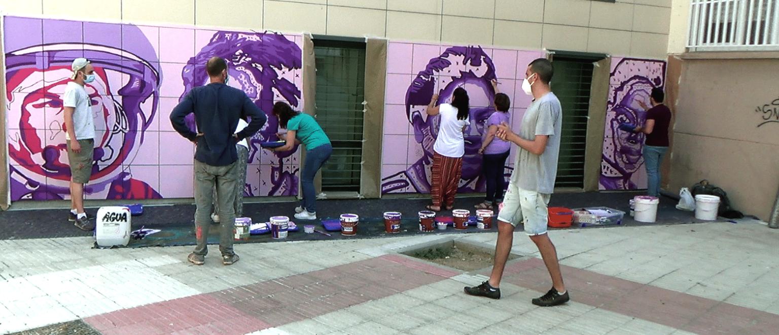 Sanse luce un mural contra la violencia machista