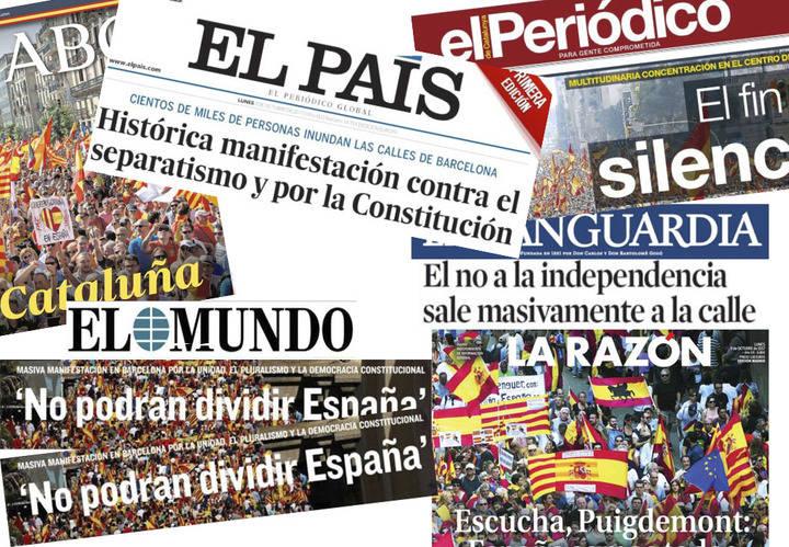 La manifestación, portada de todo los periódicos nacionales