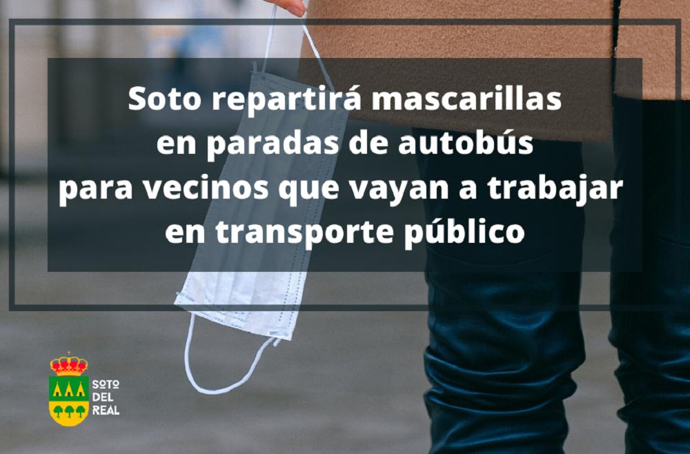 Soto reparte mascarillas en paradas de autobús para vecinos que vayan a trabajar en transporte público