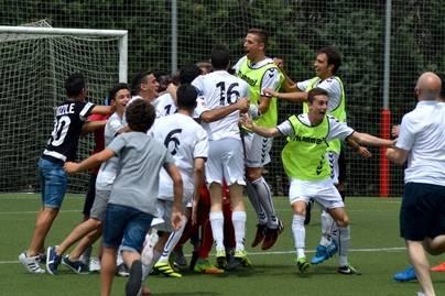 Imagen de la celebración de los jugadores del Sport después de la tanda de penaltis