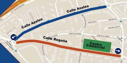 Imagen del plano de como quedarían estas calles con sentido único