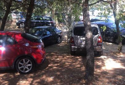 Imagen de los coches estacionados en plena zona verde del parque del Soto