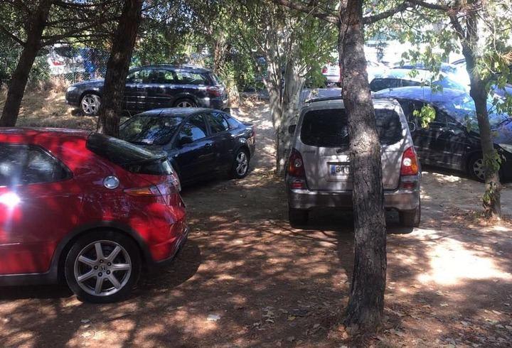 Los coches de las empresas del Arroyo de la Vega ya aparcan hasta en las zonas verdes del Soto