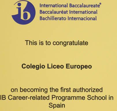 El Liceo Europeo, autorizado para impartir el Programa de Orientación Profesional del IB