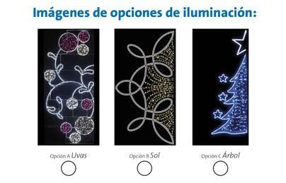 Imagen de las tres opciones de decoraciones de Navidad que se pueden votar.